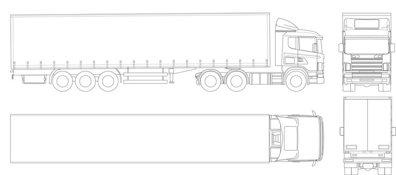 Vector truck trailer outline. Commercial vehicle. Cargo delivering vehicle. View from side, front, back, top.