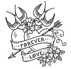 Tattoo two hearts pierced by arrow. Hearts with flowers , ribbon and swallows. Forever love. Valentines Day.