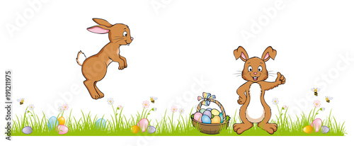 Two Easter Bunnies On A Green Meadow With Hidden Eggs