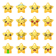 Star emoji. Cute emoticons. Face icon. Kawaii