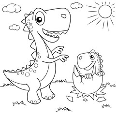Funny cartoon dinosaur and his nest with little dino. Black and white vector illustration for coloring book