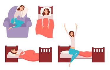 Sleeping young woman at home vector illustration