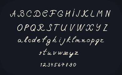 hand lettering alphabet design, handwritten brush calligraphy cursive font vector illustration, uppercase and lowercase, numbers, black and white
