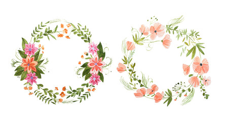 Aquarelle painting of two rural floral wreaths made of wild flowers isolated on white background
