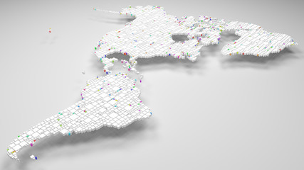 Map of America   3d Rendering, mosaic of little bricks - White and harlequin colors