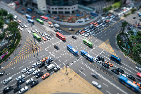 Busy crossroad in Gangnam, Seoul, South Korea