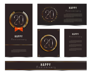 Twenty years anniversary invitation / greeting cards template. Vector illustration with black and gold elements.