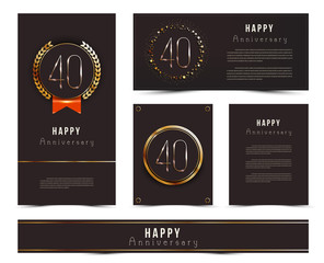 Forty years anniversary invitation / greeting cards template. Vector illustration with black and gold elements.