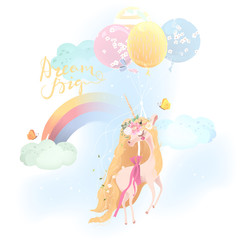 Cute, beautiful unicorn. Princess, flying girl unicorn in floral, flowers wreath, bouquet, tied bow, balloons and raibow with clouds