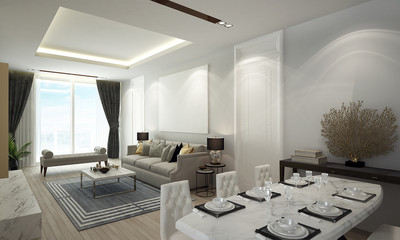 The luxury loubge and living room and dining room interior design abd sea view background
