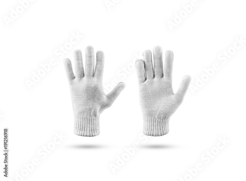 Blank Knitted Winter Gloves Mock Up Set Front And Back Side View