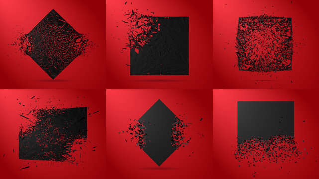 Vector illustration set, black squares, diamond and rectangle stone with garbage isolated. Abstract black explosion. Geometric background.
