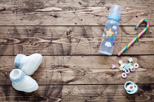 Babyshower concept on wood background