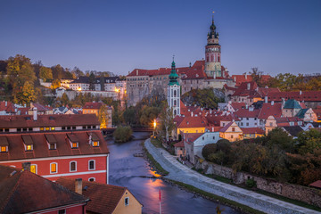 Historic town of Cesky Krumlov at night, Bohemia, Czech Republic
