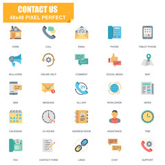 Simple Set of Contact Us Related Vector Flat Icons. Contains such Icons as Phone, Tablet, Bullhorn, Address Book, Contact Form, Calendar and more. Editable Stroke. 48x48 Pixel Perfect.