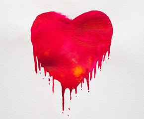 red watercolor hearts on white background.