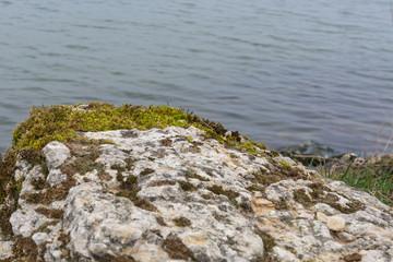 Fels mit Wasser im Hintergrund