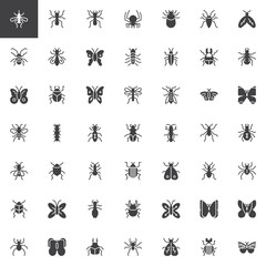 Bug and insects vector icons set, modern solid symbol collection, filled style pictogram pack. Signs, logo illustration. Set includes icons as beetle, butterfly, spider, moth, flea, fly, caterpillar