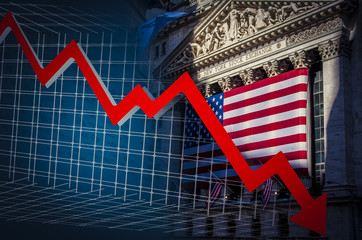 Red down arrow and NYSE on the backgroundBusinessman grabs the head concept with business chart on scoreboard
