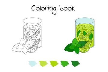 Coloring book for children. Vector illustration. lemonade with l