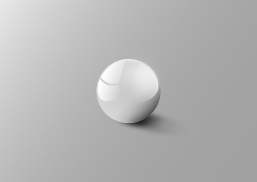 White 3D sphere with reflections. Grey scaled black and white industrial render of a perfect spherical ball with light soft shadows in a room.