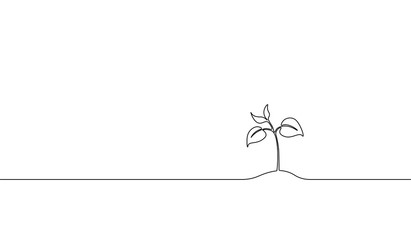Single continuous line art growing sprout. Plant leaves seed grow soil seedling eco natural farm concept design one sketch outline drawing vector illustration