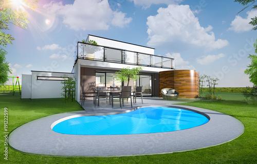 Maison individuelle moderne avec piscine et jardin\