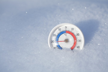 Outdoor thermometer in snow shows minus 30 Celsius degree extreme cold winter weather concept