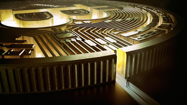 Businessman in bitcoin labyrinth. 3d rendering. financial concept