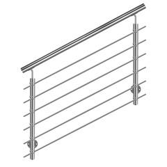 Treppengeländer  Edelstahl Produktfoto auf weißem Hintergrund