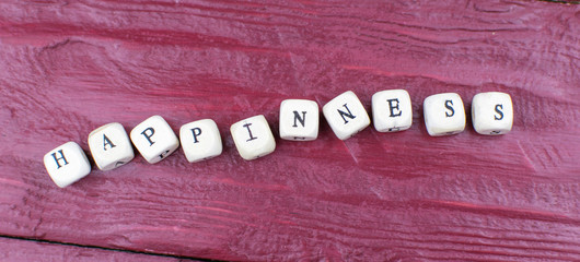 Happiness is the word from wooden cubes.