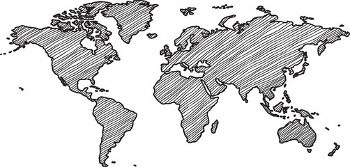 Stores à enrouleur Carte du monde Freehand world map sketch on white background.