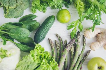 Assorted green vegetables