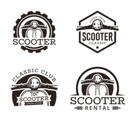 Set of Classic scooter emblems, icons and badges. Vector illustration of vintage scooters on white background. Transportation logo