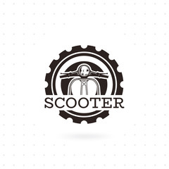 Classic scooter emblem. Vector illustration of vintage scooter on white background. Transportation logo. Vector illustration