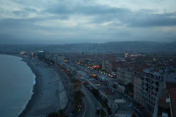 Aerial view of old French city of Nice at dusk