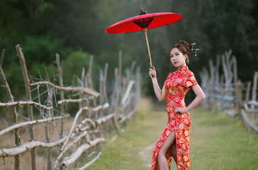 Chinese women wearing tradition red dress