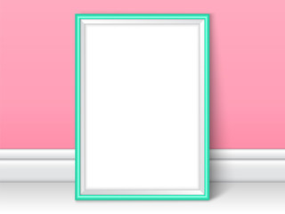 Photoframe realistic mock up vector pink kids room wall