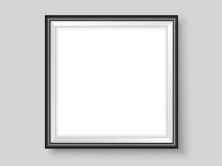 Picture frame on the wall black square realistic vector