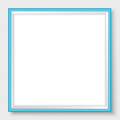 Picture frame on the wall square realistic vector blue