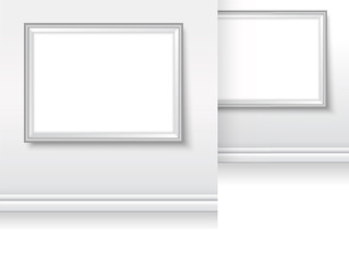 Picture frames in gallery mock up simple vector grey