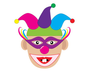 Funny clown with two teeth. Vector illustration