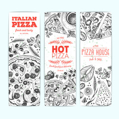 Vertical banner set with pizza and product for cooking pizza. Italian food menu design template. Vintage hand drawn sketch vector illustration. Engraved style
