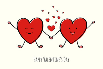Design of card for Valentin'es Day with cartoon hearts. Vector.