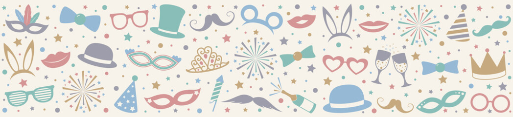 Pastel coloured banner with party icons. Carnival, photobooth and birthday party. Vector.