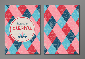 Carnival Party - layout of invitation. Vector.