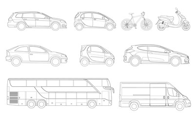 Vector set of outline icons cars. View to the side City transport.