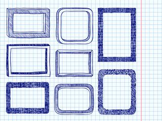 Frames doodle blue pen curve border set notebook paper