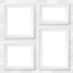 Frames wall gallery mockup white brick wall 1