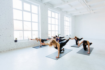 Group of six sporty women practicing yoga lesson with instructor, doing balance and stretching exercise on the floor in white hall of yoga studio. Teamwork, good mood and healthy lifestyle concept.